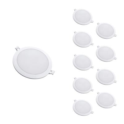 Downlight Dalle LED Extra Plate Ronde BLANC 12W Ø115mm (Pack de 10)