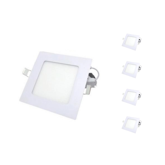 Spot LED Extra Plat Downlight Carré 6W Blanc (Pack de 5)
