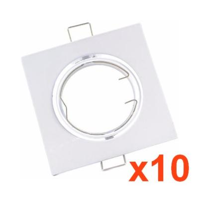 Support Spot Encastrable GU10 LED Orientable Carré BLANC (Pack de 10)