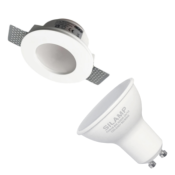 Kit Support Spot GU10 LED Rond Blanc Ø120mm + vitre opaque avec Ampoule LED 6W
