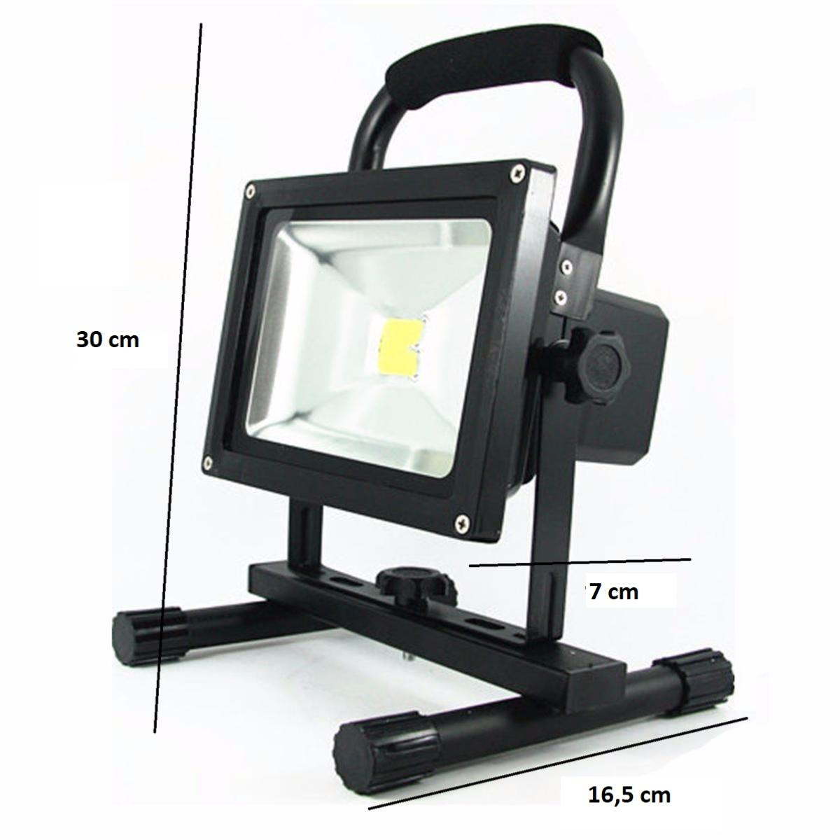 projecteur led phare 20w ip65 portable rechargeable noir. Black Bedroom Furniture Sets. Home Design Ideas