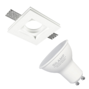 Kit Support Spot GU10 LED Carré Blanc 100x100mm avec Ampoule LED 6W