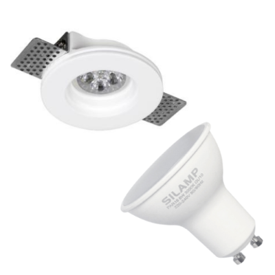Kit Support Spot GU10 LED Rond Blanc Ø100mm avec Ampoule LED 6W