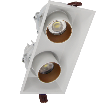 Downlight Spot LED COB Orientable Dimmable Rectangle BLANC/DORE 2x9W 120°