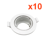 Support Spot Encastrable GU10 LED Orientable Rond BLANC (Pack de 10)