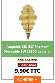 Ampoule LED E27 filament dimmable 8w LS200 Lampion