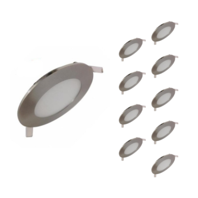 Downlight Dalle LED Extra Plate Ronde ALU  6W (Pack de 10)