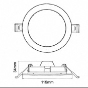 Downlight Dalle LED Extra Plate Ronde BLANC 12W Ø115mm