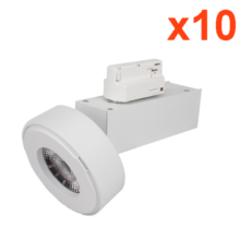 Spot LED sur Rail 12W 38° Monophasé BLANC (Pack de 10)
