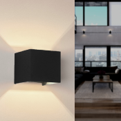 Applique Murale Noire Design LED 12W IP54 Carré