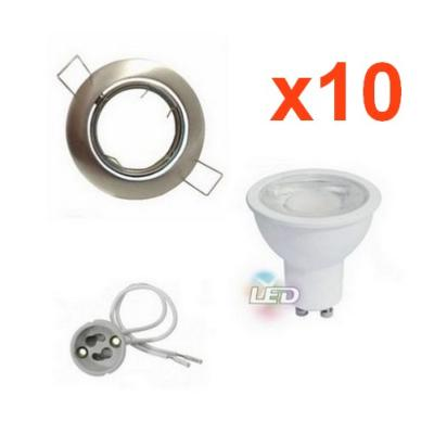 Kit Spot LED GU10 Encastrable Orientable 8W Rond Inox (Pack de 10)