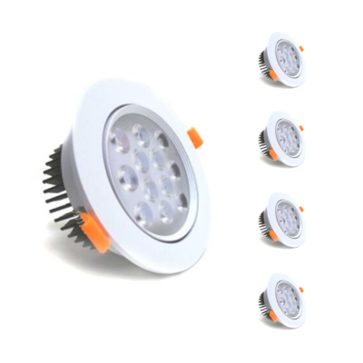 Spot LED Rond Encastrable Orientable 12W 80° (pack de 5)