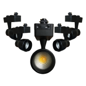 Spot LED sur Rail 30W Multi-angle COB Monophasé NOIR (Pack de 5)
